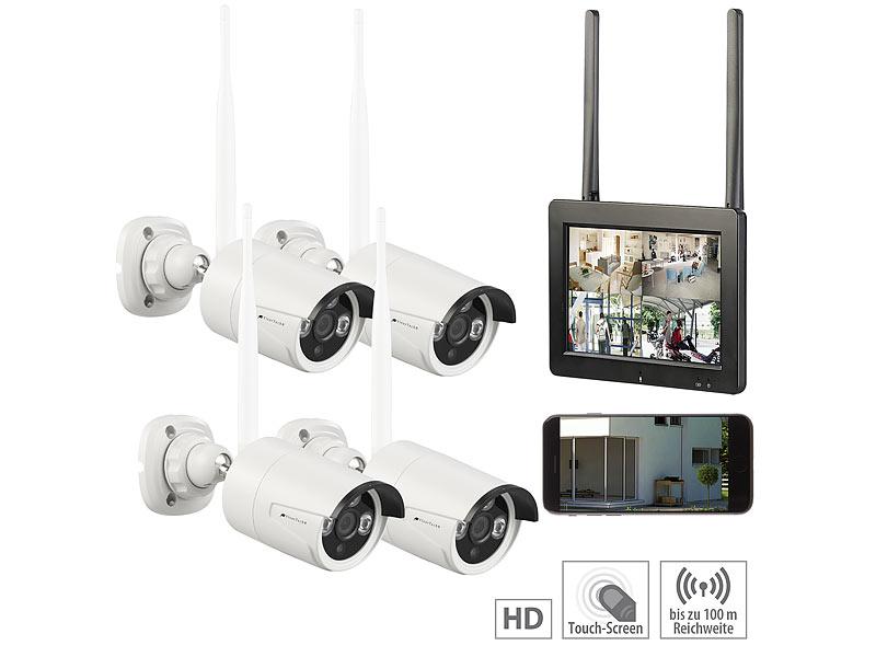 "VisorTech Funk-Überwachungs-Set mit 7/""-Touchscreen-Monitor 4 HD-Kameras /& WLAN"