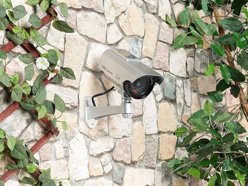 visortech berwachungskamera attrappe mit signal led solar und akkubetrieb. Black Bedroom Furniture Sets. Home Design Ideas